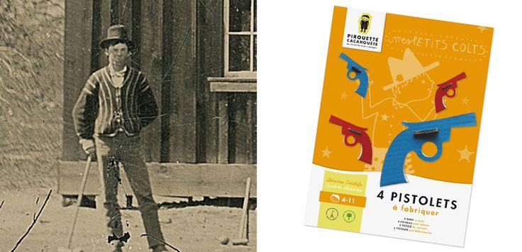 À la conquête de l'Ouest…  Découverte inédite de la deuxième photo du célèbre bandit américain Billy the Kid pris en flagrant délit de partie de croquet !  Même les plus grands bandits aiment jouer, si seulement il avait connu mes Petits Colts en carton :-)