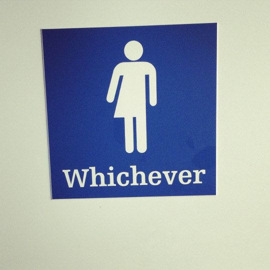 This sign couldn't care less, it just wants you to get your business over with:   17 Of The Most Fabulous Gender Neutral Bathroom Signs