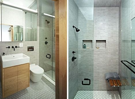 Small doorless shower designs nyc shoebox studio for Studio apartment bathroom design ideas