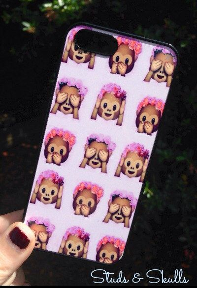 Iphone 5 5S Phone Case Emoji Monkey Floral Print by StudsandSkulls