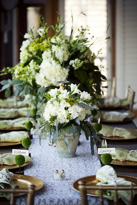 flowers in pots, lace table runner