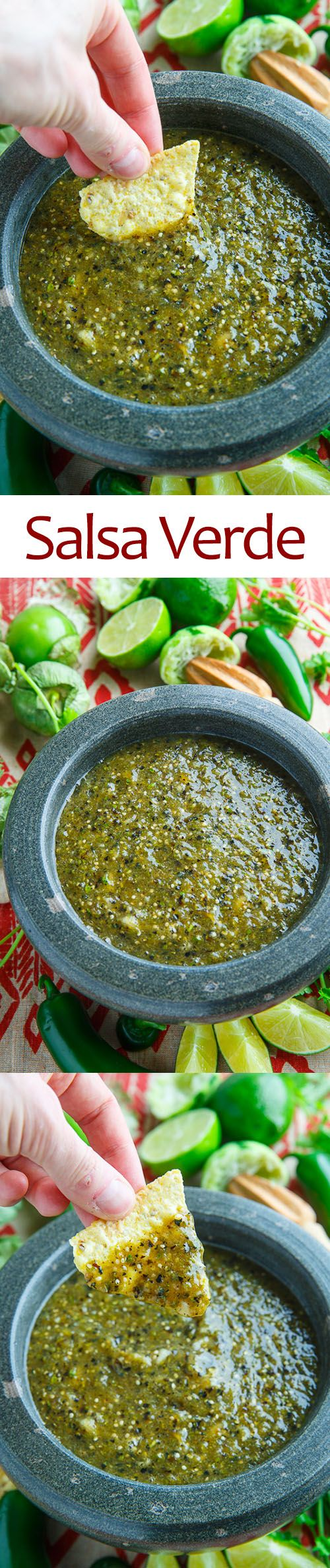 Salsa Verde. Made some modifications: only had 10 oz of tomatillos so reduced everything but the lime juice and cilantro. Used 3 banana peppers instead of a jalapeno and walla walls sweet onion.