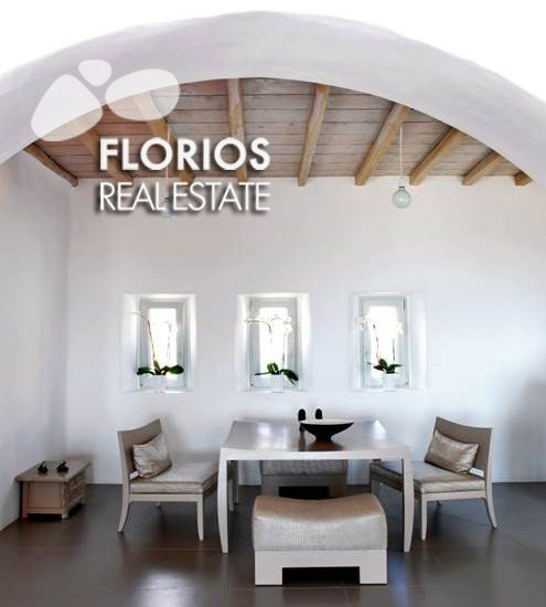 A spacious living room with a fire place, a dining room, an open kitchen and a WC. On the same level there is a big bedroom with a dressing room and an en-suite bathroom. Outwards there is a pergola a barbecue and a dining area. FL1026 Two Villas for Sale on Mykonos island Greece. FL1026 http://www.florios.gr/en/mykonos-property/17.html