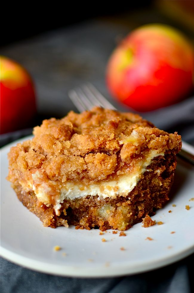 A moist apple coffee cake layered with luscious cream cheese and a crumbly streusel!