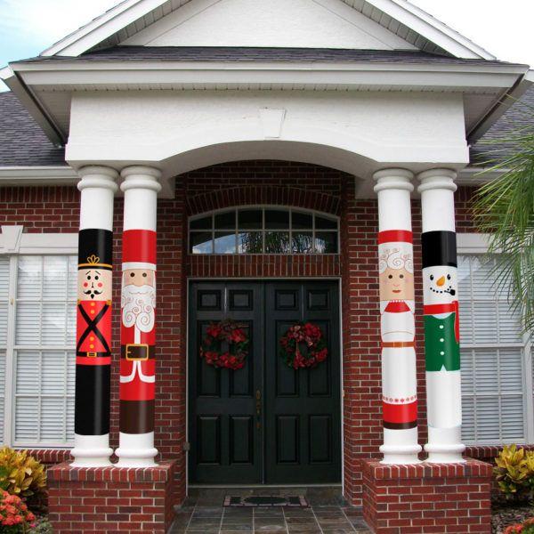 Holiday Nutcracker Column Wrap Allenhomedesign Exterior Christmas Decorations Front Porch Christmas Decor Outdoor Christmas Decorations