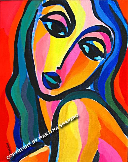 Abstract Girl On Red contemporary, abstract, modern, expressionist fauve original acrylic painting by artist Martina Shapiro