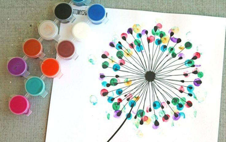 fingerabdruck bilder vorlage-pusteblume-bunt-idee-diy-erwachsene-kinder