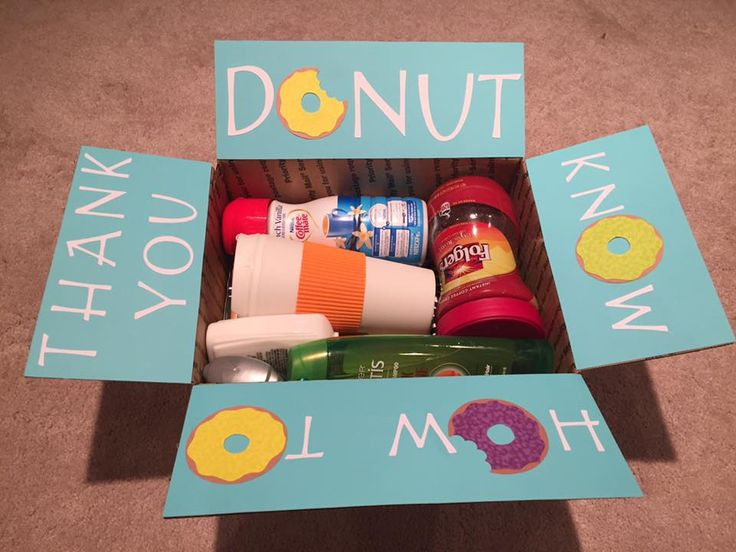"""Donut know how to thank you"" Care Package for military - food pun - medium flat rate box - filled with @dollartree coffee mug, breakfast foods and toiletries! Sent to Adopt a US Soldier/Project Front Lines. Made by @krity_cent"