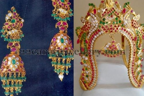 Jewellery Designs: Vanki and Cabochon Rubies Jhumkas