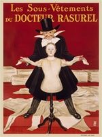 Docteur Rasurel by Cappiello 1910 France - Beautiful Vintage Posters Reproductions. This vertical clothing advertisement features Doctor Rasurel showing off his collection of undergarments. The man is holding the sleeves of the maniquin. Giclee Prints