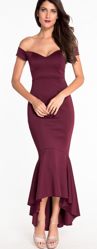 Burgundy Off the Shoulder Fitted Mermaid Evening Dress