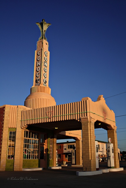"""TEXAS, Shamrock - Tower Conoco on Route 66.  This station was used as the inspiration for """"Ramone's Body Shop"""" in the Disney/Pixar movie """"Cars""""."""