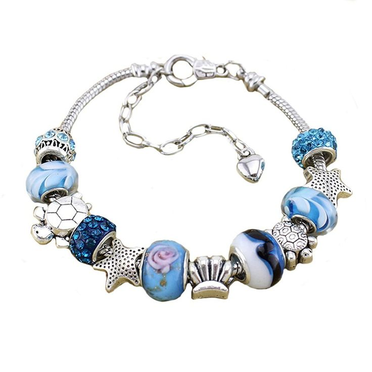 European Ocean Beach Charm Beaded Bracelet 7.5 and 8.5 Inch for Women and Teen Girls Seashell Turtle Starfish Dolphin Charms Aquamarine Murano Glass Beads Prime Quality Gift 925 Silver Plated and Leather Wrap *** You will love this! More info here : Jewelry