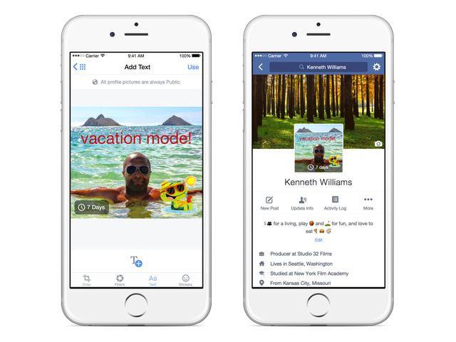 New on Facebook: Looping video profiles, temporary pictures, larger images