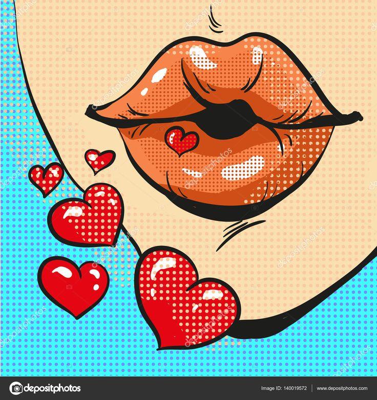 Lèvres pop art envoi baiser (rétrogirl)