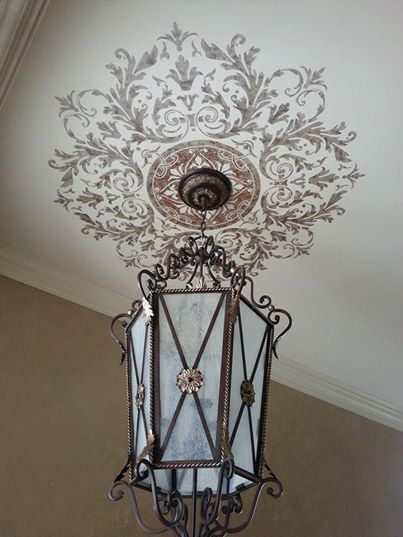 Elegantly Stenciled Painted Ceiling Medallion by Gina Wolfrum | Modello® Designs Custom Designer Stencils http://www.modellocustomstencils.com/
