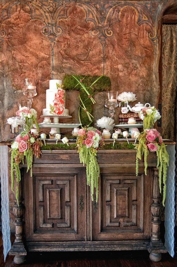 Dress up your wedding furniture with plants like moss and weeping willow branches #wedding #woods #diy #theme #inspiration #decorations #woodland #nature #style #inspiration #furniture #cake #rustic