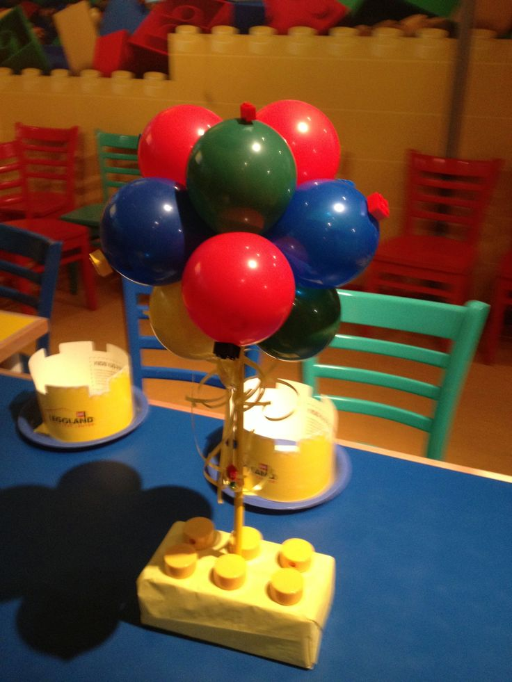 Lego Block Themed Centerpiece  Centerpieces  Balloons in 2019  Lego birthday party Lego