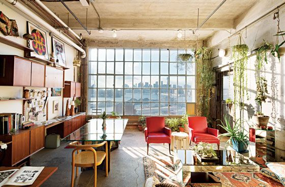 city loft. incredible window, light and hanging plants.