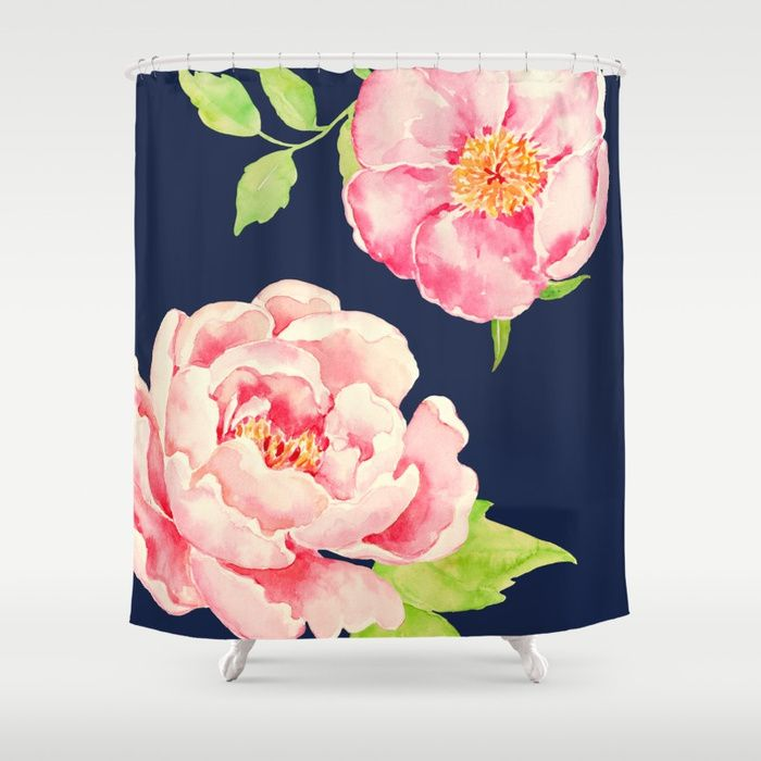Buy Two Pink Peonies On Navy Shower Curtain By Entirelyeventfulday