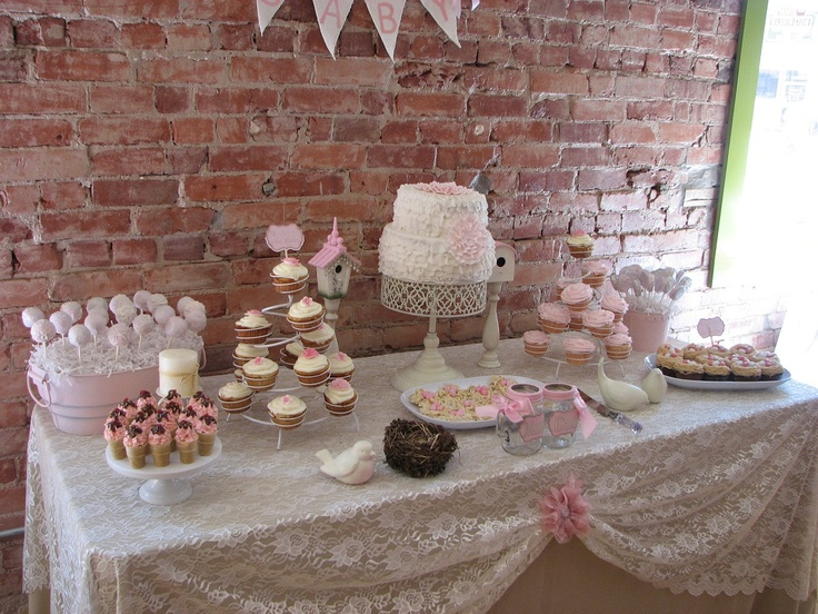 Baby Shower Themes Lace ~ Baby shower cake table my cupcake bakery cuppycakes