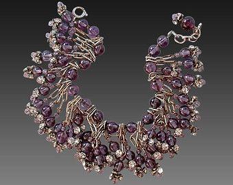 Sale Vintage CHARM Bracelet Amethyst Glass Bead Fringe Bracelet CLEAR Rhinestones Dangles c.1950's, February Birthstone Color