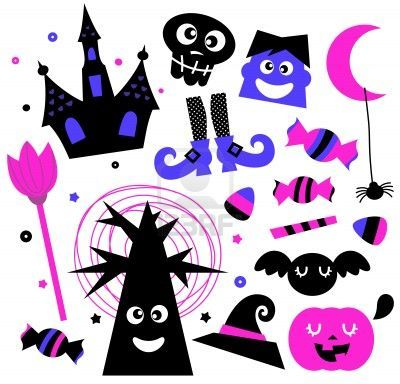 Cute Halloween cartoon elements.  Illustration