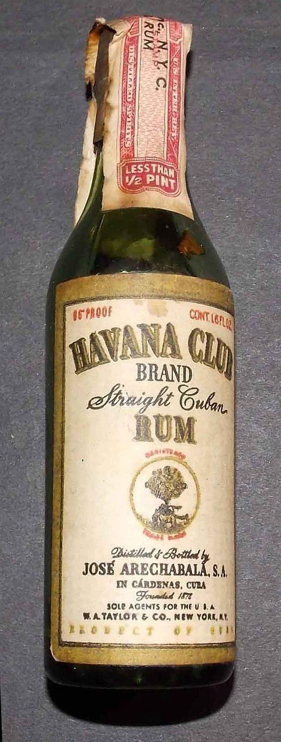 Havana Club Miniature Liquor Bottle  (Straight Cuban Rum Brand, Jose Arechabala, S.A., Miniature Alcohol Bottles)
