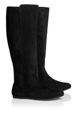 Faux Suede Flat Knee Boot