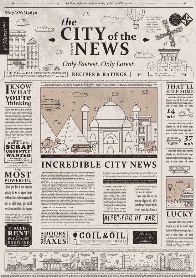 Design Of Old Vintage Newspaper Template Vintage Newspaper Newspaper Template Newspaper Design Layout