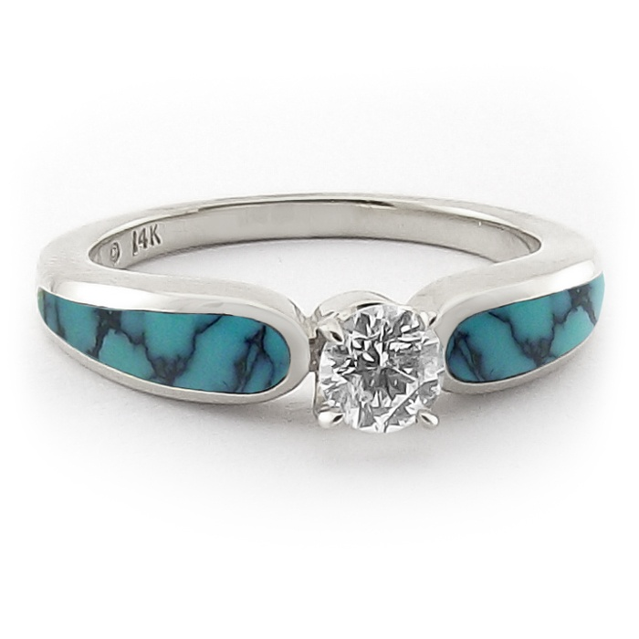 stormy sky turquoise and diamond engagement ring - Turquoise Wedding Rings