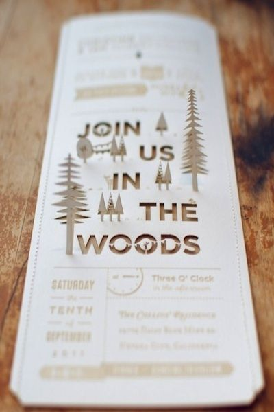 I'm enamoured with the idea of not only an outdoor wedding, but a wedding in the woods at a campground/cottage. This invite is fun!