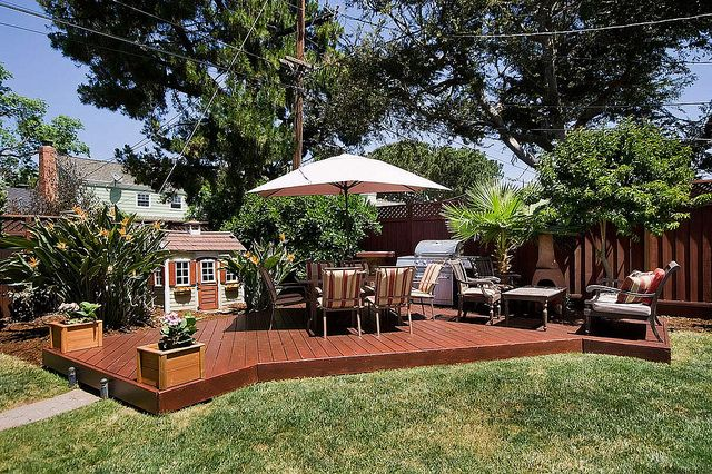 Backyard and detached redwood deck outdoor ideas for Detached patio