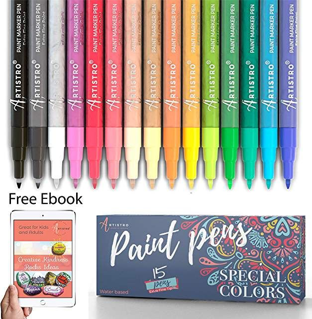 Paint pens for Rock Painting Stone Glass Wood Set of 15 Acrylic tip Ceramic