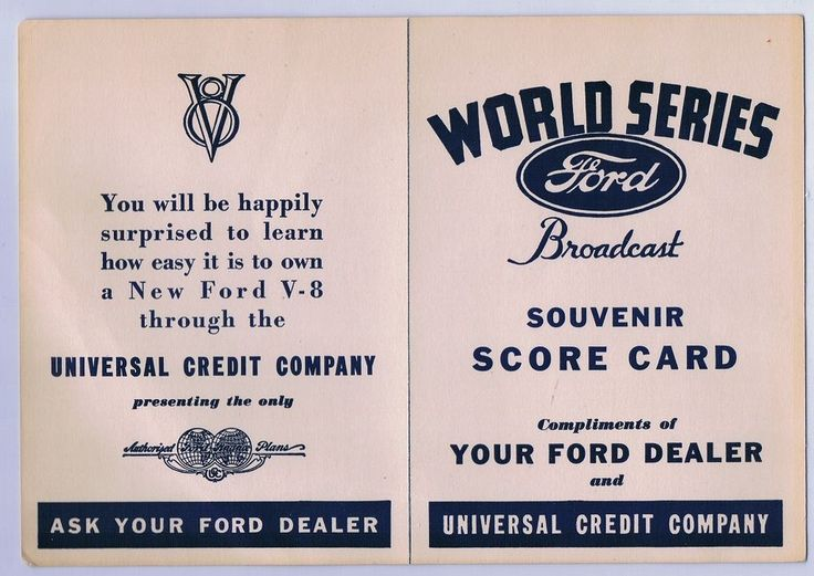 1935 World Series Score Card Detroit Tigers Chicago Cubs FORD MOTOR CO