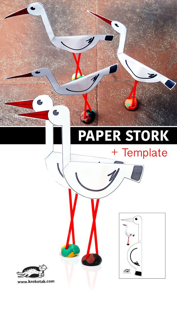 Paper stork + template This could be adapted rather modestly to make Black-necked Stilts!