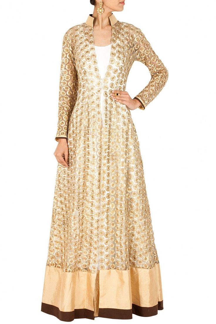 Gold embroidered jacket with white anarkali BY NIKHIL THAMPI. Shop now at perniaspopupshop.com #perniaspopupshop #clothes #womensfashion #love #indiandesigner #NIKHILTHAMPI #happyshopping #sexy #chic #fabulous #PerniasPopUpShop