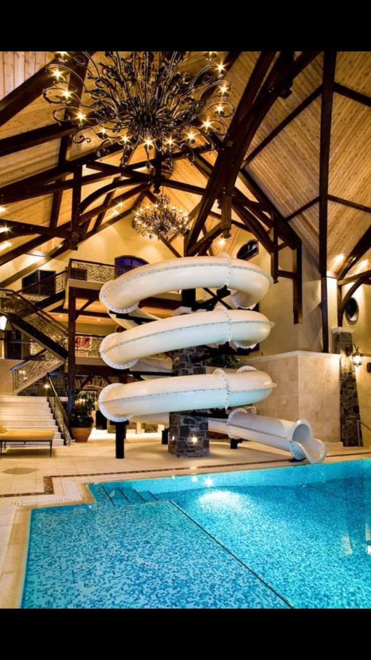 17 best images about swimming pool waterfall slides on - Indoor swimming pool with slides london ...