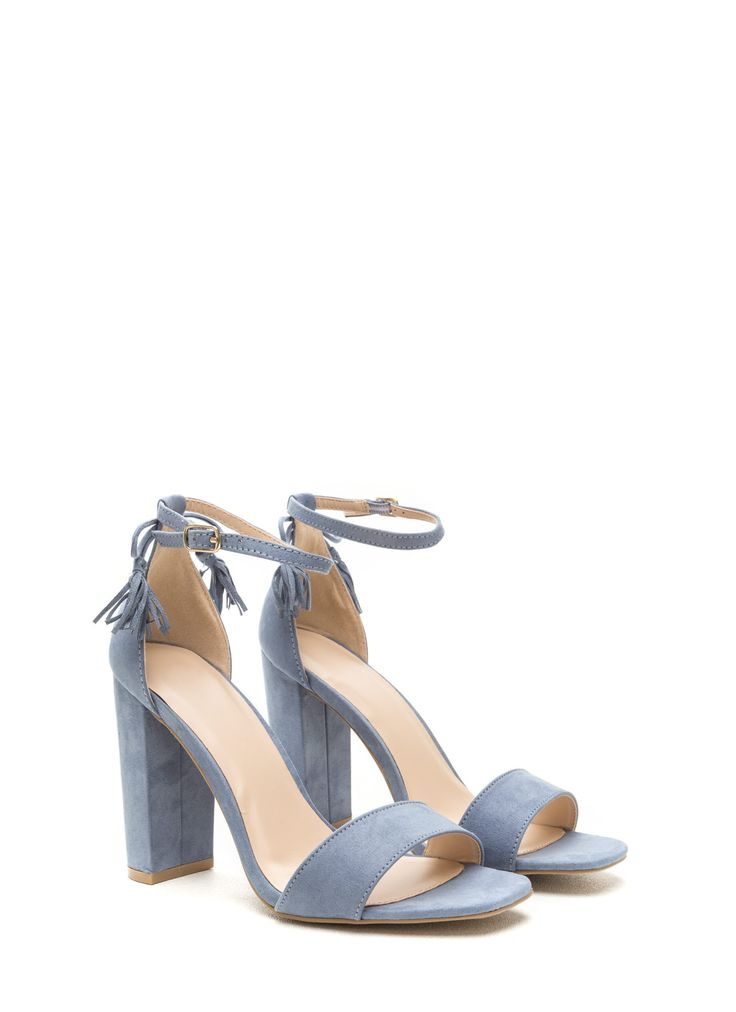 Put A Bow On It Faux Suede Strappy Heels BLUE