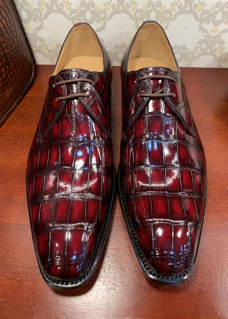 Handmade Alligator Leather Modern Classic Lace-up Dress Oxfords Shoes
