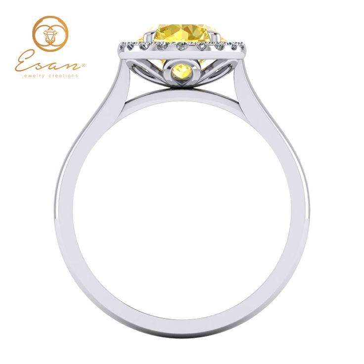 Inel de logodna cu diamant galben ES151