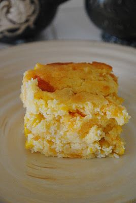 Corn Casserole- easy side dish recipe. 1 can of creamed corn, 1 can of whole kernel corn, Jiffy corn bread mix, sour cream and melted butter. A pinterest recipe I would make again.