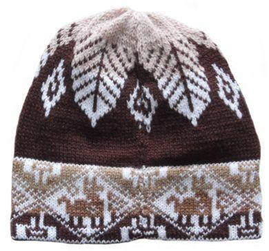 Dunkelbraune Inka Look #Beanie Mütze aus #Alpakawolle.