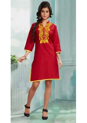 Ethnic Wear Readymade Red Pure Cotton Kurti - 50072