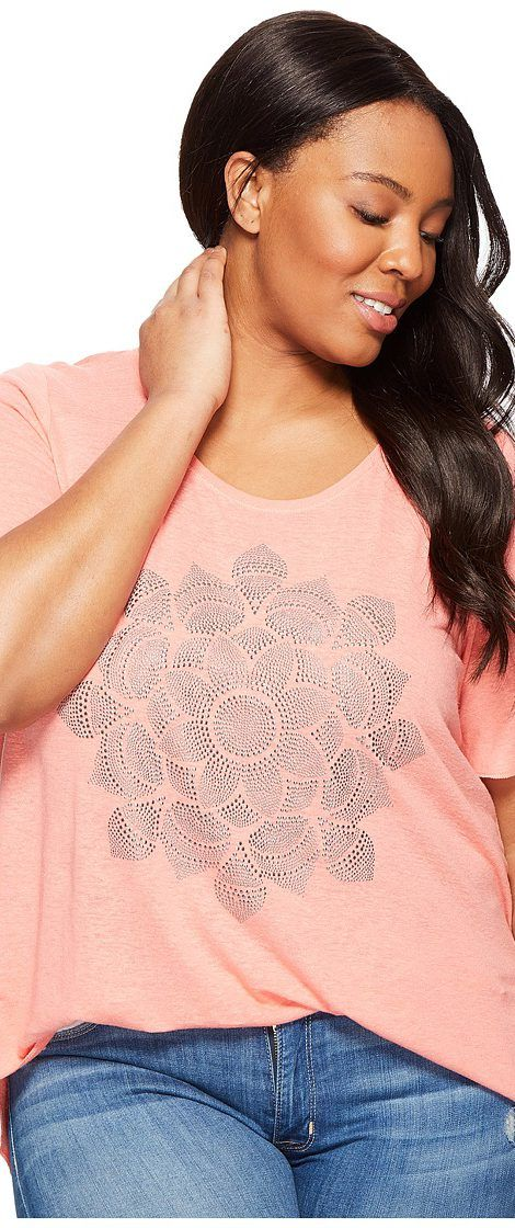 Lucky Brand Plus Size Studded Lotus Tee (Shell Pink) Women's T Shirt - Lucky Brand, Plus Size Studded Lotus Tee, 7Q82831-680, Apparel Top Shirt, T Shirt, Top, Apparel, Clothes Clothing, Gift - Outfit Ideas And Street Style 2017