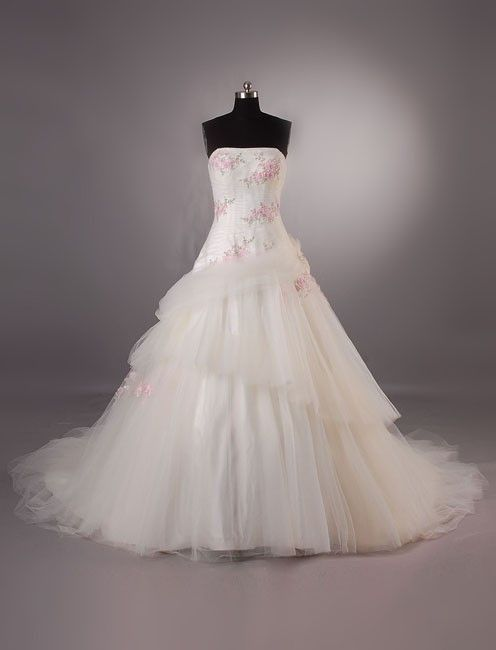 Ball gown style wedding dress with pink cherry blossom embroideries. Processing Time Standard processing time is approx 8 weeks, peak season may be longer. If you need rush service, please contact us
