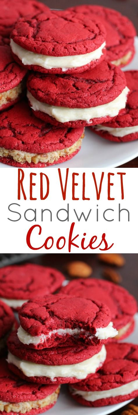 Red Velvet Sandwich Cookies with Cream Cheese Filling made from scratch - Soft and chewy cookie with amazing creamy filling.