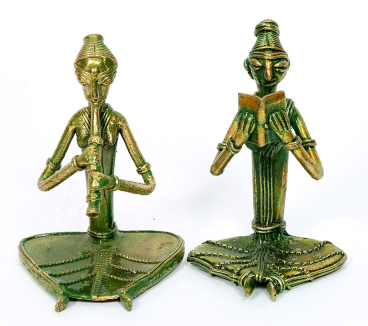 Set of two Dhokra work metal figures. Artistically handcrafted. Can be kept as decoration pieces in any part of the house.