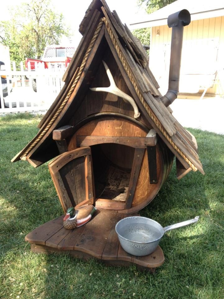 Handcrafted Hunting Lodge Wine Barrel Dog House by Rengineering101 on Etsy https://www.etsy.com/listing/236068877/handcrafted-hunting-lodge-wine-barrel