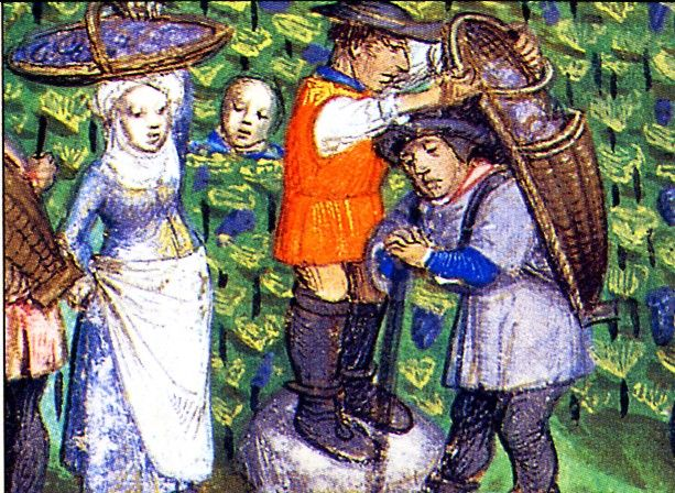 From a book of hours by the Master of the Dresden Prayer Book, ca 1500 (as reproduced in the 2002 Medieval Women Calendar)Basketry, 1400 1500, Aprons, Baskets Cases, 2002 Medieval, Prayer Book, Burden Baskets, Medieval Life, Dresden Prayer